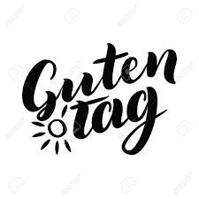 Guten タグ単語こんにちはドイツ語で良い一日おしゃれな書道太陽と白い背景のベクトル図です手描き