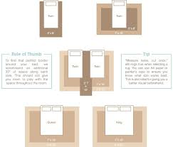 rug sizing guide for twin queen and king beds bedded bedroom rug size chart