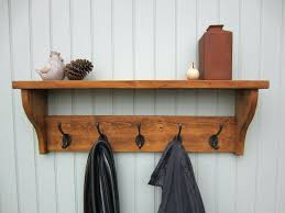 wall coat rack with shelf clothing hooks hook rustic amazing