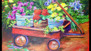 how to paint flower pots in a wagon a beginner acrylic painting tutorial by ginger cook