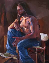 blue jeans and converse male african american figure art painting portrait original oil on canvas