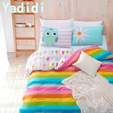 yadidi cotton rainbow owl bedding set cartoon modern flower fl twin queen size stripe bed