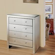 Mirrored Furniture Foxhunter Mirrored Furniture Glass 4 Drawer Chest Cabinet Table