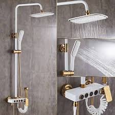 luxury shower faucets brass white bath