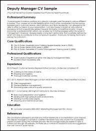 Management Cv Template Deputy Manager Cv Sample Myperfectcv