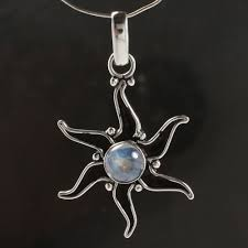 details about 925 silver plated blue fire rainbow moonstone gem traditional star pendant 4 0cm
