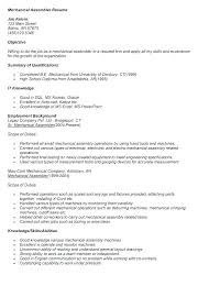 Assembly Resume Sample Resume For Manufacturing Jobs Manufacturing