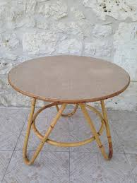 vintage round bamboo rattan coffee table for at pam