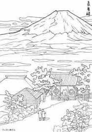 富士山と長尾峠の桜の塗り絵の下絵画像 Coloring Pages 塗り絵