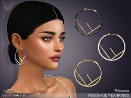 Fendi Hoop Earrings – GiuliettaSims in 2020 | Sims 4 collections, Sims 4  mods clothes, The sims 4 packs