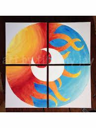 Sun/Moon Multiple Canvas Original Acrylic Abstract Painting on Etsy, $265.00