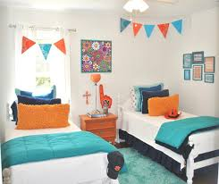 Small Shared Bedroom White Blue Colors Covered Bedding Sheets Pink Orange Colors