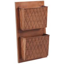 linon 2 slot cross hatch wall mount mailbox in distressed copper