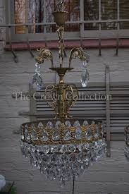 pair antique vintage french basket style crystal chandelier