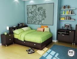 Bedroom Furniture For Boys Teen Boy Bedroom Furniture Open Shelves Wooden Bed Brown Green