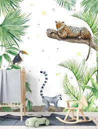 Jungle Print Behang Meubels Blank Hout Of Underlayment Stoere