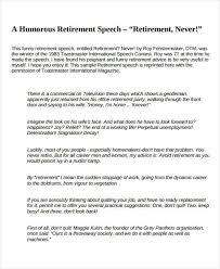 retirement speech samples humorous retirement speech