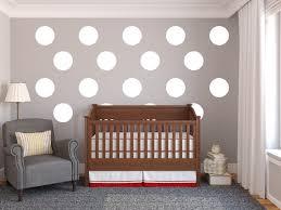minimalist nuersery room design large white polka dot wall