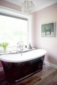 black bathtub with pink walls