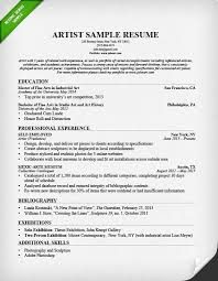 Cv Resume Format Download Delectable Artist Resume Sample Writing Guide Resume Genius