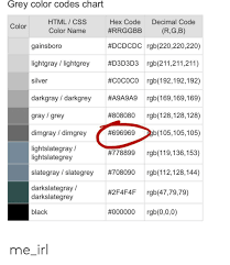 Grey Color Codes Chart Html Css Hex Code Decimal Code Color