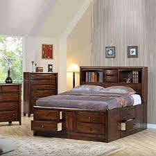 Hillary and Scottsdale Contemporary California King Bookcase Bed with Underbed Storage Drawers