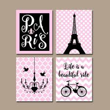 paris wall art canvas or prints eiffel tower decor pink