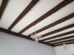 white wood plank ceiling in the living room
