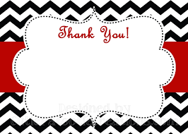 Printable Thank You Cards Black White Red Chevron Print Thank You Card Printable Or