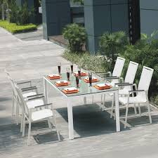 awesome patio table and chair sets jade silkscreen glass white aluminium outdoor table chairs set patio remodel photos