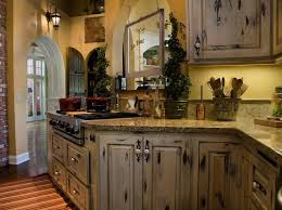fascinating rustic kitchen cabinet in distressed color with granite countertops