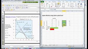 solve linear programming simplex method using ms excel
