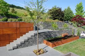 Garten Terrasse Au Engestaltung Mauer Trockenmauer