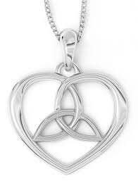 14k white yellow gold irish celtic knot heart pendant necklace