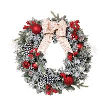 Battery Pack Lights For Wreath 24 Inch Lighted Battery Operated Flocked Pine Wreath With Red Ball Ornaments Berries And Bow Artificial Pine Christmas Wreath 30 Micro Led Lights