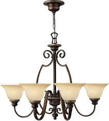 hinkley cello 6 light antique bronze chandelier with alabaster shades