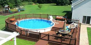 above ground round pool with deck. Above Ground Pools With Deck Round Pool Decks  Installation Photos The Factory . F