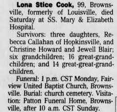 Obituary for Lona Stice Cook (Aged 99) - Newspapers.com