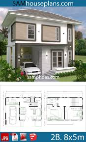 Small Home design Plan 8x5m with 2 bedrooms - Sam House Plans | Small house  design, Modern small house design, Home design plan