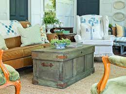 Hold one wheel in one corner of the trunk to determine best placement for caster base. How To Construct A Rustic Trunk Style Coffee Table Hgtv