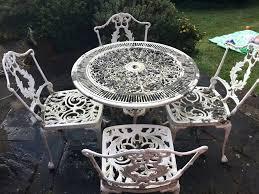 white iron garden furniture. White Metal Patio Furniture Garden Table And Chairs Mesh Outdoor Wrought Iron I