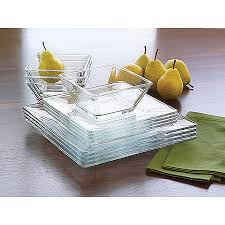 mainstays 12 piece square clear glass dinnerware set