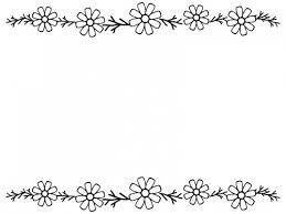 コスモスの上下白黒フレーム飾り枠イラスト 無料イラスト かわいい