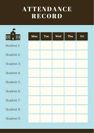 attandance list blue attendance sheet class list templates by canva