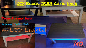 black ikea lack transformation farmhouse coffee table w led lights