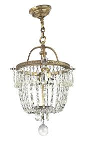 antique crystal c chain and brass chandelier ceiling light fixture circa 1910