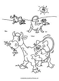 Kleurplaat Koeien Weide Grazen 2 Dieren