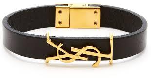 saint lau ysl monogram plaque leather bracelet in black for men save 39 lyst