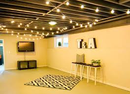 Unfinished basement ceiling paint Man Cave Hang String Lights Most Unfinished Basements Basement Ceiling Ideas Low Finishing Touches For Your Unfinished Ceiling Ideas Basement Absujest Painting Unfinished Basement Ceiling Painted Ideas Low Unf Absujest