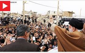 Image result for رهبر انقلاب در جمع مردم زلزلهزده کرمانشاه